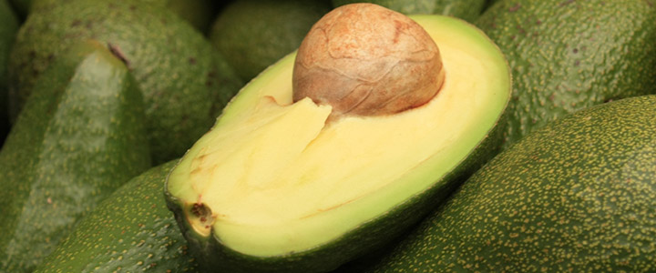 An open avocado