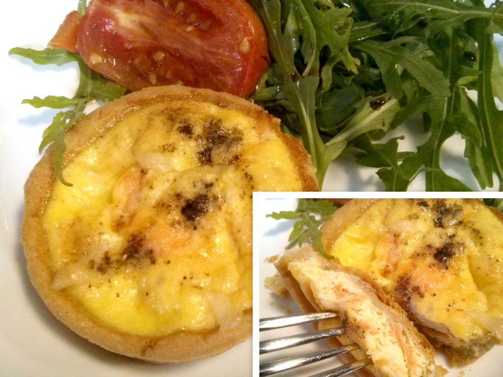 Gluten free egg and salmon tart.
