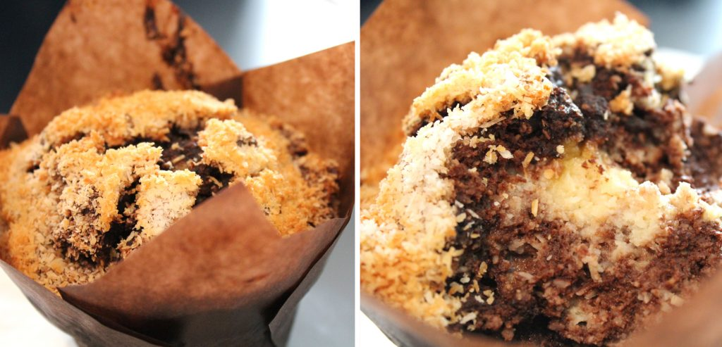Coconut and chocolate gluten-free muffin