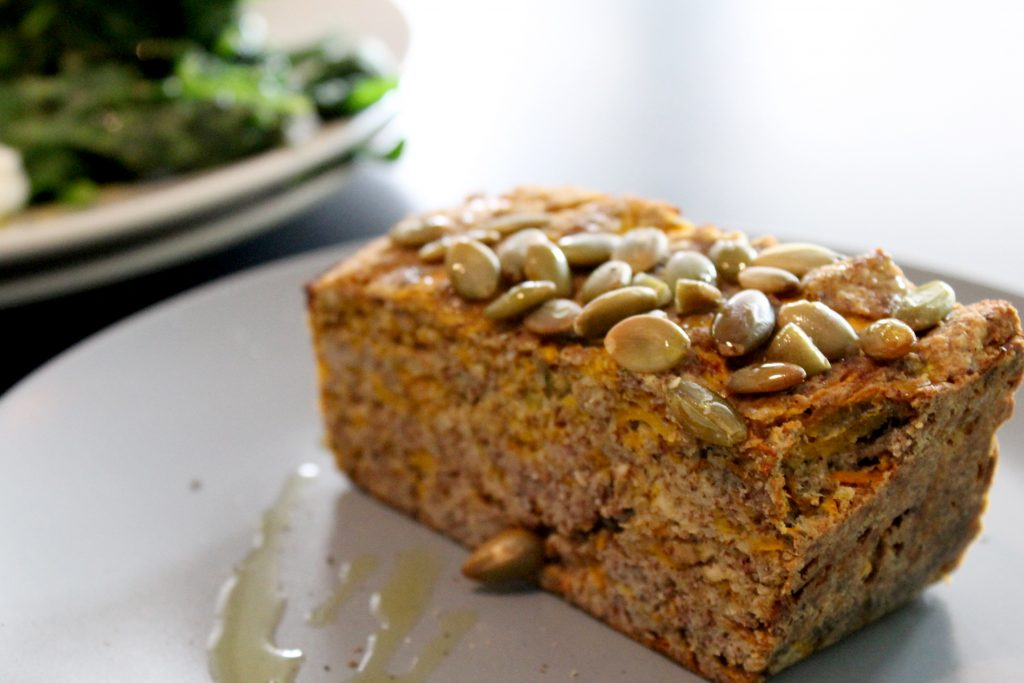 Pumpkin & hazelnut meal loaf.