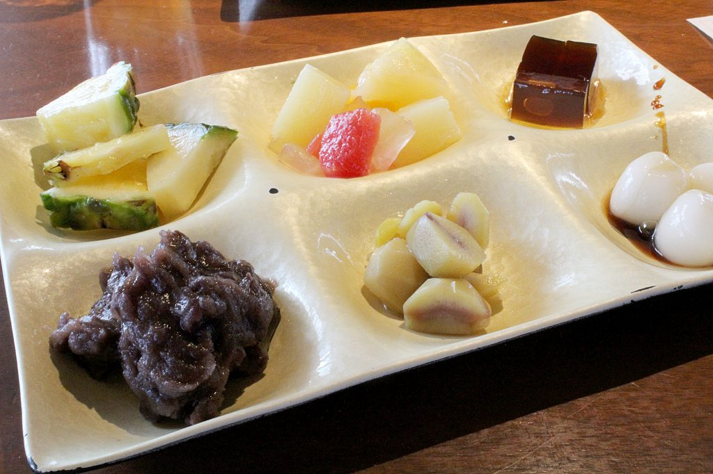 Dessert: fruit and some traditional Japanese sweets.