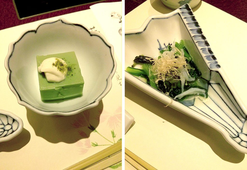 Yame matcha go-tofu (tofu with Yame macha miso paste) and Hawasabi to shirauo no ohitashi (boiled wasabi leaves and Ice fish seasoned with soy sauce and fish soup stock)