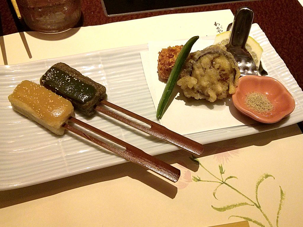 Namafu Dengaku (deep-fried wheat gluten coated with miso paste) and Aigamo to Nasu no Hakata-age to Hamo-shinjyo no Daizu-age (Deep fried duck loin and eggplant + deep fried Pike eel ball with flaked soybeans)