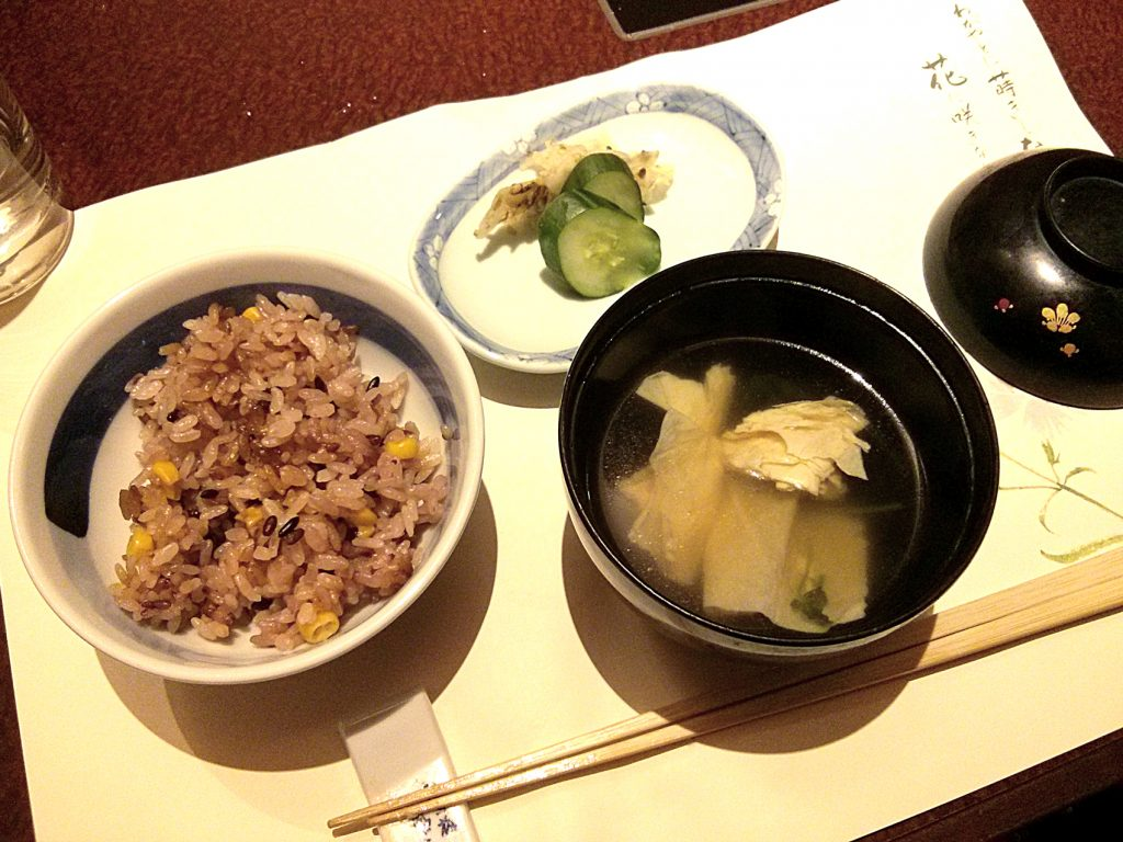 Kisetsu no Hanmono (seasonal rice), Ko-no-mono (Pickled vegetables) and Yuba Suimono (Yuba soup)