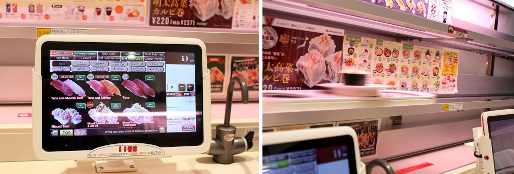 UOBEI Sushi - tablet for ordering and the delivery.