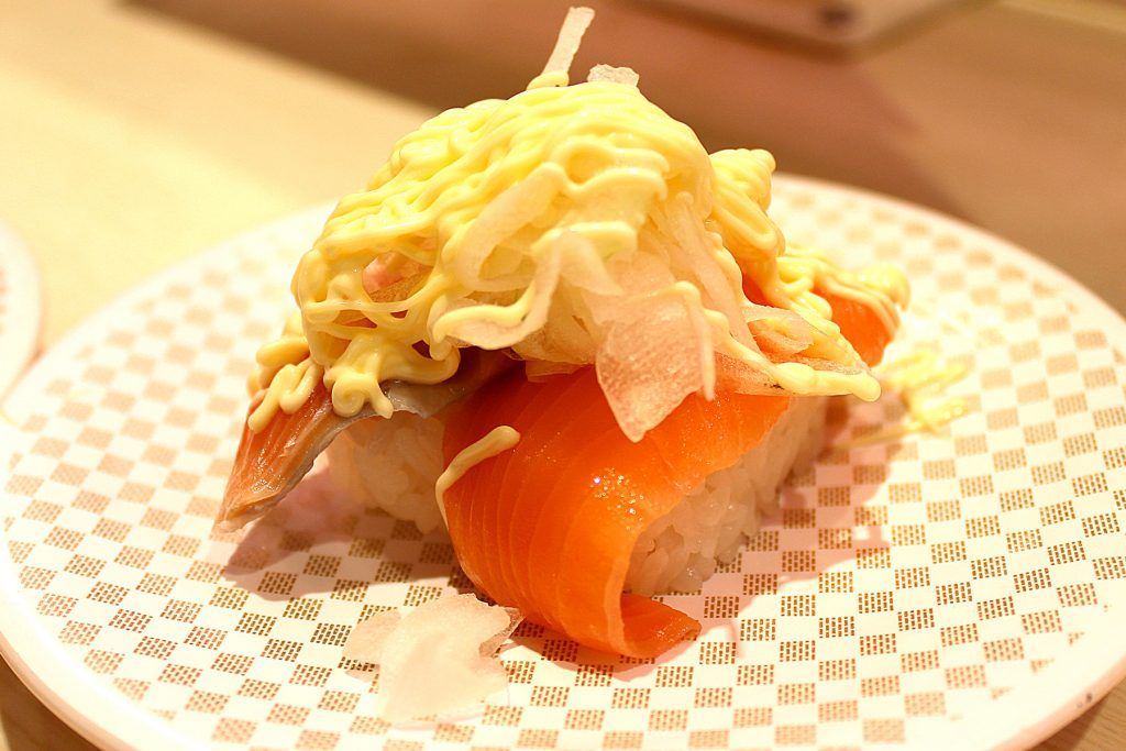 Salmon with onion and mayo