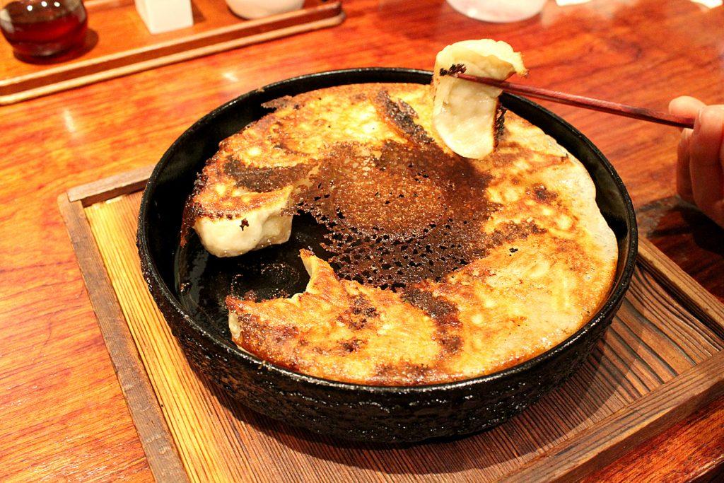 Anzukko Gyoza, cooked on a iron pan.