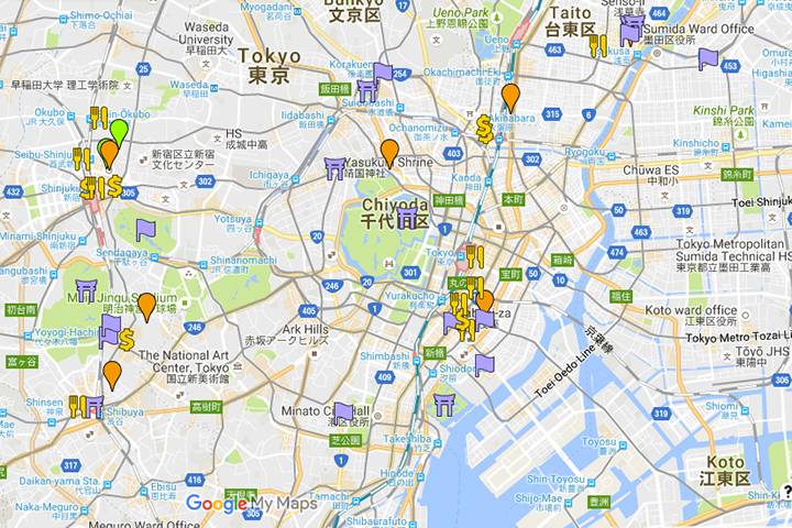 My itinerary for 6 days in Tokyo.