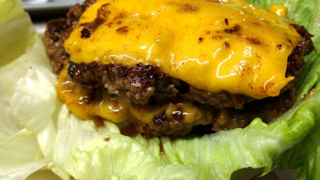 Double burger, close up.