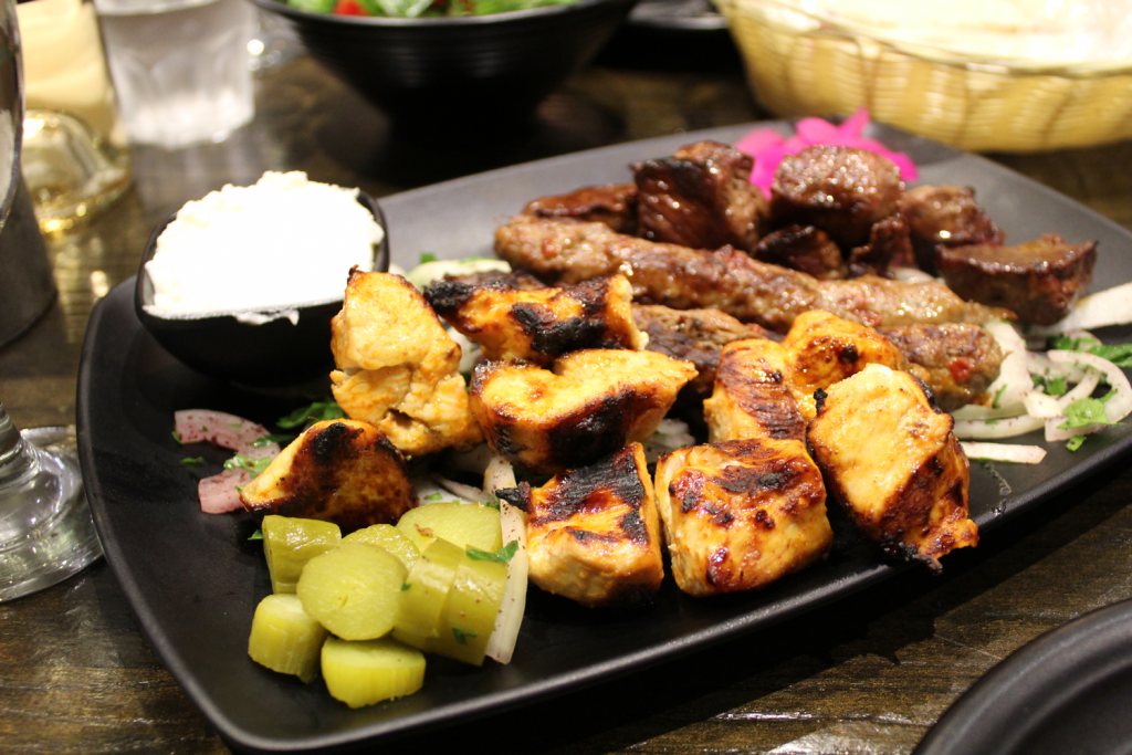 Chicken breast, lamb, kafta skewers.