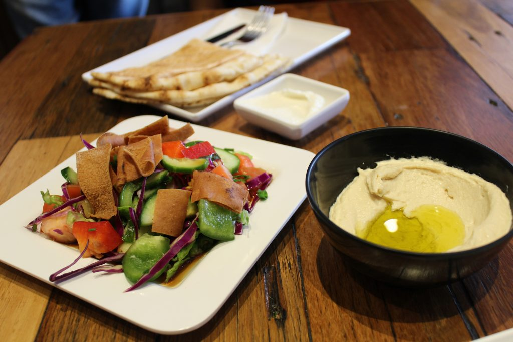 Mixed Grill Plate - fattoush salad, hommus, garlic sauce & 2 pieces of lebanese bread.