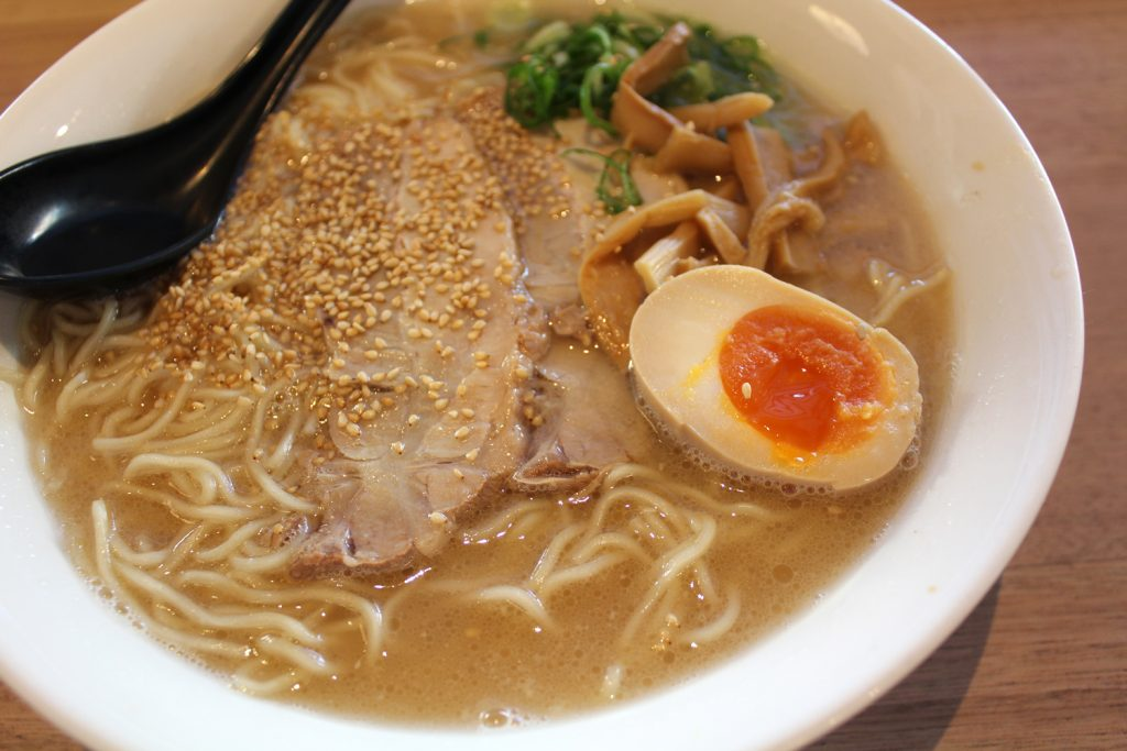 Cha-Shu Ramen - Tonkotsu broth, egg noodle with a lot of thinly sliced roasted pork, bamboo shoots, shallots, sesame.