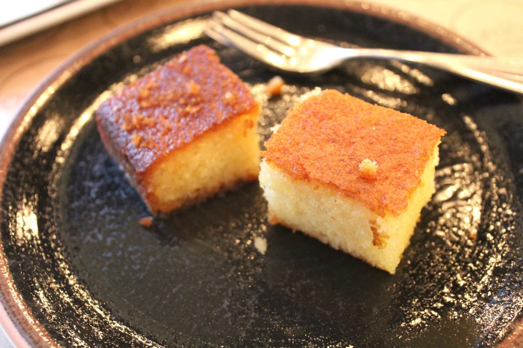 On the house, semolina cake.