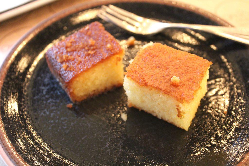 On the house, semolina cake.