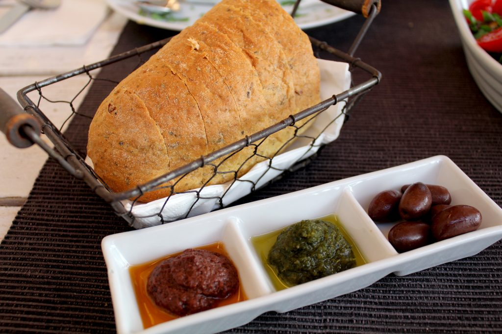 Bread with dips.